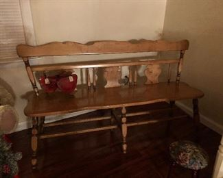 Vintage solid maple bench