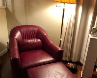 Red leather small club chair