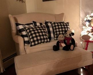 Gorgeous settee and ottoman  Down filled pillows