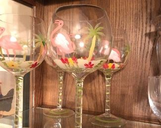 Hand painted flamingo wine glasses
