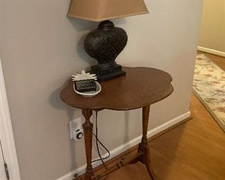 ANTIQUE TABLE AND LAMP