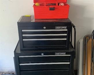CRAFTSMAN TOOL BOX AND TOOLS INSIDE