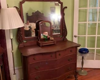 Nice antique dresser with matching bed!    Akro Agate Floor Lamp