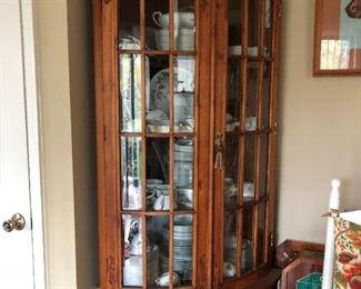 Corner oak cabinet