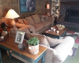 Tan sofa and matching love seat