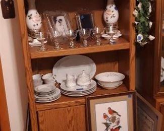Vintage Scotty bottles,  Vintage hurricane lamps,  Needlepoint Bird pictures. Vintage China Sets