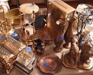 Beautiful music box, Brass hour glass, Anniversary clock, vases, bells, book ends