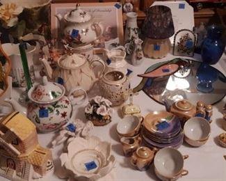 Tea pots, Childs tea set, decorative parrot mirror, Windmill music box, vases