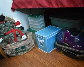 Wreaths, storage containers, carpet spot cleaner
