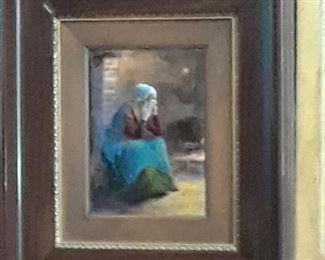 Oil on copper one of two women sitting in a kitchen