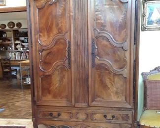 Gorgeous 18th century French double door armoire or press. Note the beautiful wood grain. Locks with key (ask for key at cashier)
