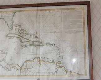 Antique map navigation, Caribbean islands dated