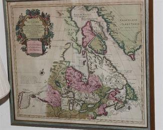 Antique map Greenland/Canada