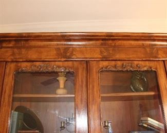 upper view of Victorian bookcase