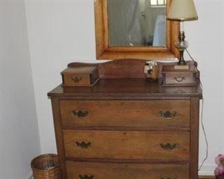 Vintage three drawer chest with glove box