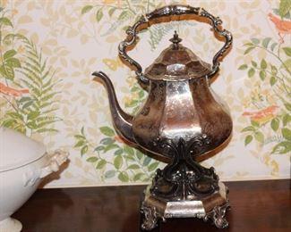 Silver plate tilting coffee/tea server with burner