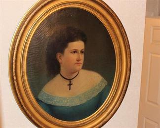 Beautiful vintage oil portrait
