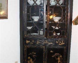 Corner Black Lacquer Oriental Chippendale influenced China/Curio cabinet