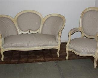 Medallion back sofa, matching chair