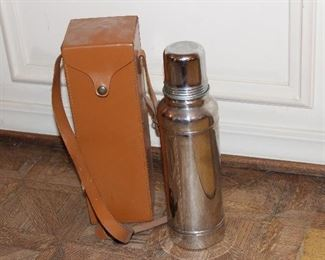 Thermos with leather carry case