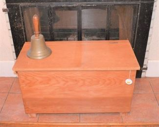 OLD CHEST AND BRASS BELL