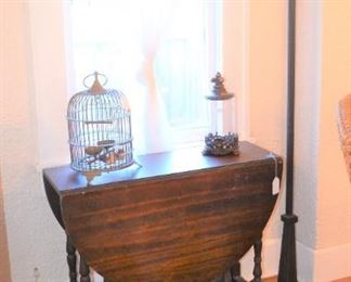 DROP LEAF GATE LEG TABLE, BRASS BIRDCAGE, FLOOR LAMP