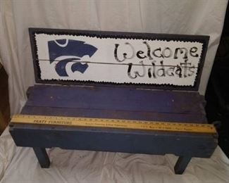 K-State wooden bench
