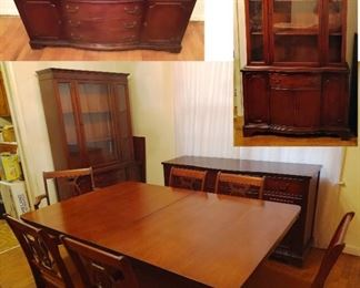 Excellent condition Mid Century Mahogany Table and 4 chairs, buffet/credenza, and hutch/china cabinet. The Credenza would make a great entertainment center.