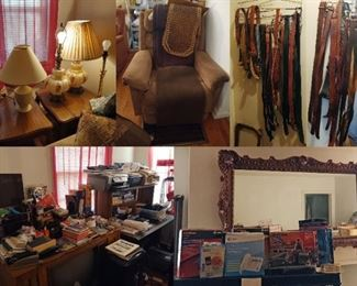 Vintage Lamps, Desk, Office supplies, Mantle Mirror, leather & western Belts, Swizzle Chair, & Boxed telephone some vintage.