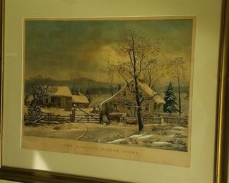 "currier & ives ""new england winter scene"""