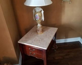 One of several vintage marble top accent tables and coffee table