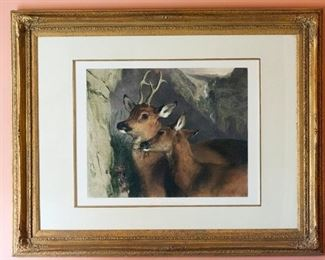 The Honeymoon, original colored lithograph by Sir Edwin Landseer