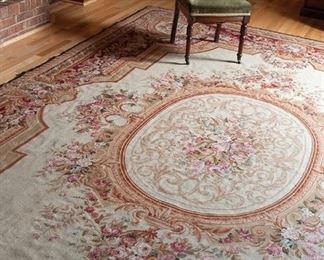 "Needlepoint area rug, 9'5"" x 13'9"""