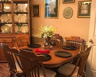 Oak Dining table and China Cabinet