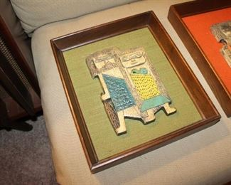 Marcello Fantoni for Raymor vintage mid century framed painted tiles, caveman theme, we have a matching pair, very rare!