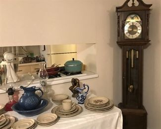 Emperor German grandfather clock, Sunmarc stoneware, McCoy pitcher and bowl, more