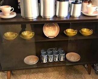 Mid-century entertainment console, vintage canister set, Jeanette glassware, more