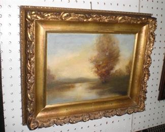 Hudson Valley oil painting in original gold leaf frame