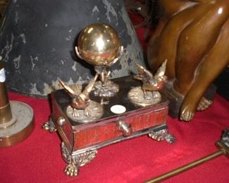 silverplate inkwell with bird pen rests and nested egg inkwell