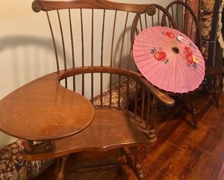 Vintage Windsor Paddle Writing Chair w/drawer