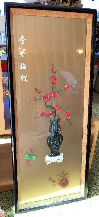PVT011 Beautiful Chinese Prune Flowers Framed Wall Hanging