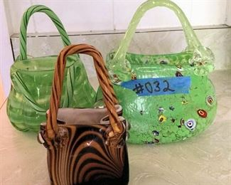 PVT032 Blown Glass Purse Shaped Candy Dishes