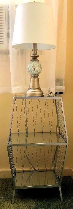 PVT057 Metal Framed Night Stand and Lamp