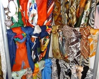 Some of the many beautiful scarves