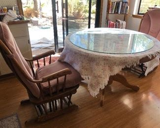 Glass Top Round Table.