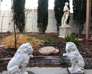 Pair of Lion Garden Statues.