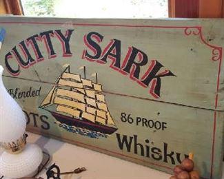 Cutty Sark solid wood display sign