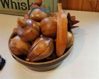 Bowl of wooden fruit