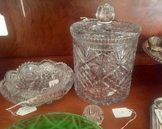 Lots of cut glass and pressed glass