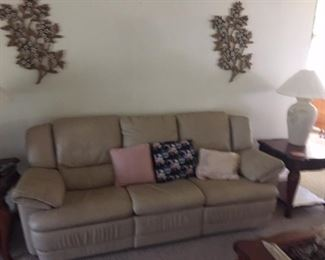 Leather sofa - Cream colored, like new condition. Matching love seat available